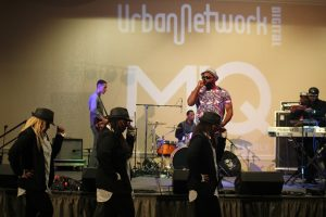 R&B/Hip-Hop Gospel vocalist showcased his band and dancers during the 2015 Urban Network Digital & MIQ Conference